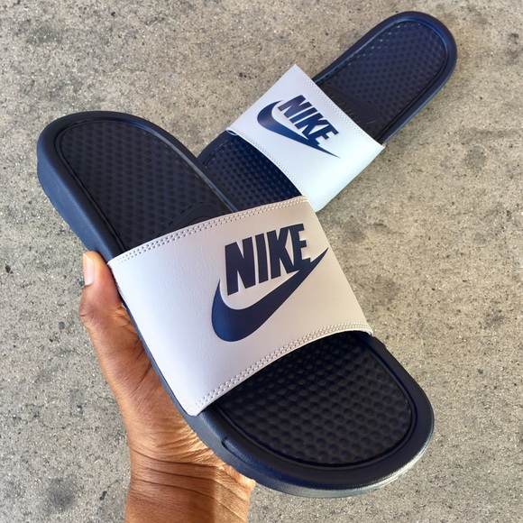 5a8e204f0 NIKE BENASSI SLIDES JUST DO IT JDI GREY DARK BLUE